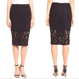 """NWT Parker """"Sandia"""" Black Lace Pencil Skirt"""